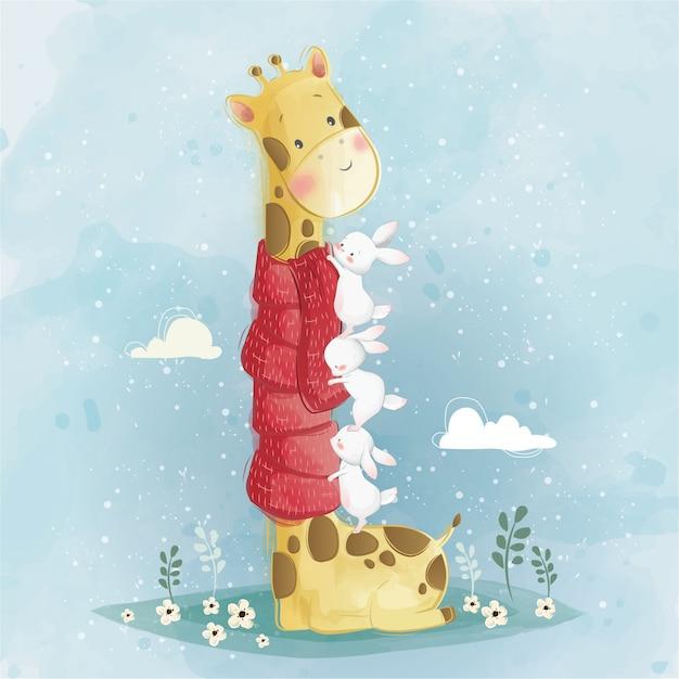 Girafa bonito e coelhos Vetor Premium