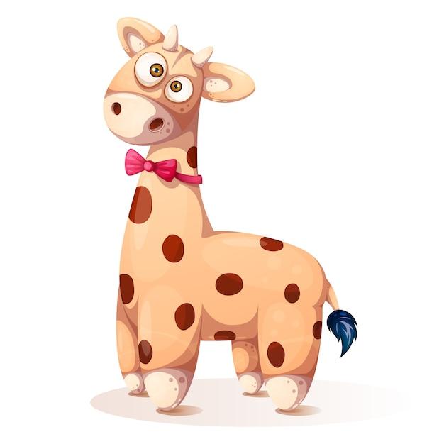 Girafa bonito, engraçado da peluche - ilustração dos desenhos animados. Vetor Premium