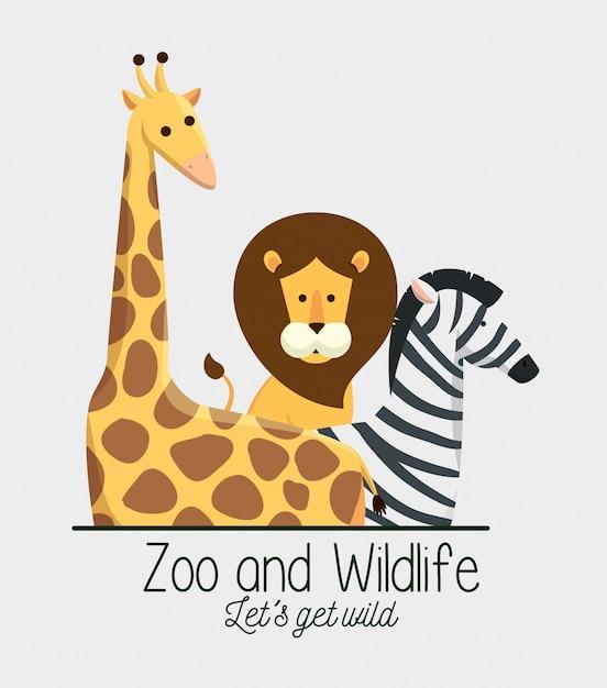 Girafa com animais leão e zebra na reserva do safari Vetor grátis