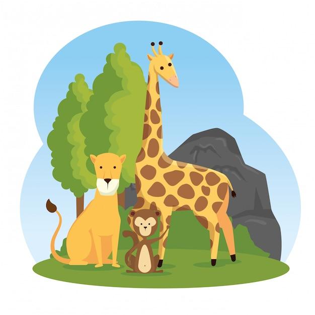Girafa com reserva de animais selvagens de leão e macaco Vetor grátis