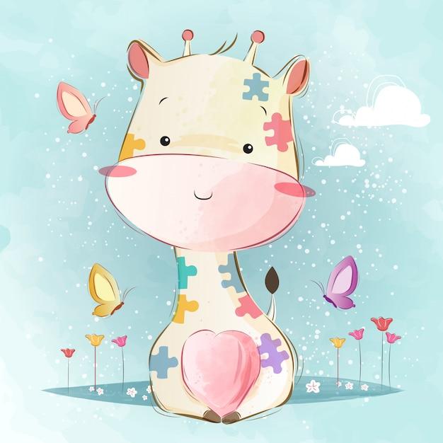 Girafa de bebê no padrão de quebra-cabeça Vetor Premium