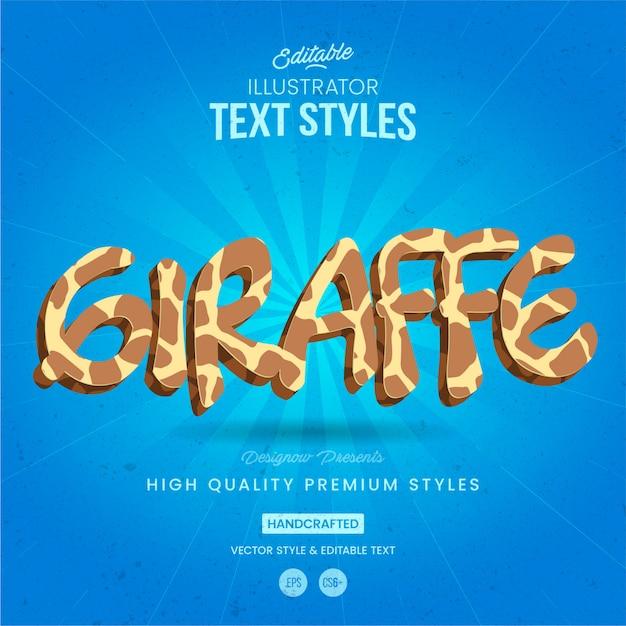 Girafa de estilo de texto animal Vetor Premium