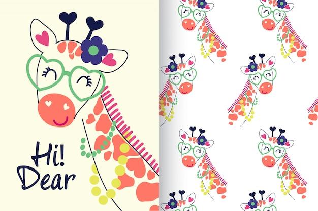 Girafa gira desenhada de mão com padrão definido Vetor Premium