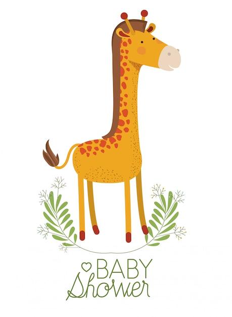 Girafa girafa com grinalda bebê chuveiro cartão Vetor Premium