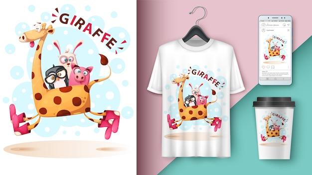 Girafa, pinguim, coelho, porco - maquete para sua ideia Vetor Premium