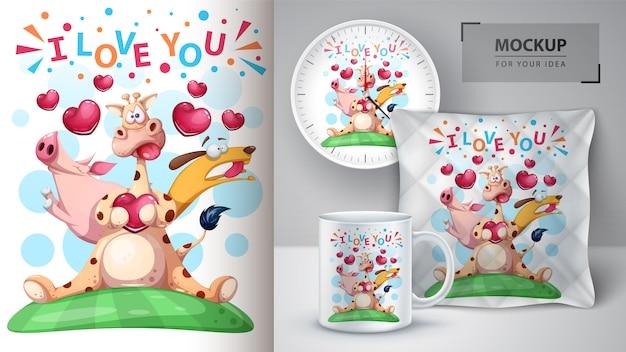 Girafa, porco, ilustração do cão Vetor Premium