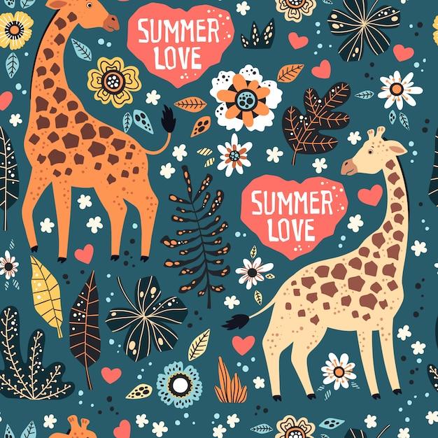 Girafas com plantas tropicais e flores padrão Vetor Premium