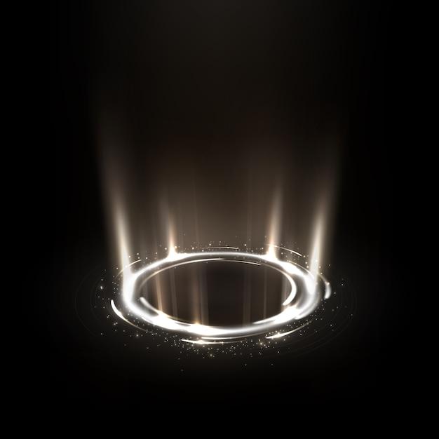 Girando raios brancos com brilhos Vetor Premium