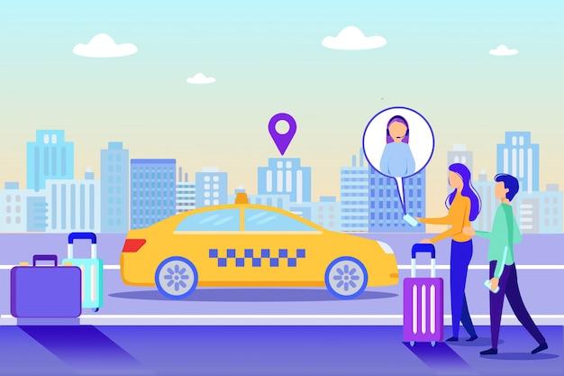 Girl call online suporte ordem táxi entrega de táxi Vetor Premium