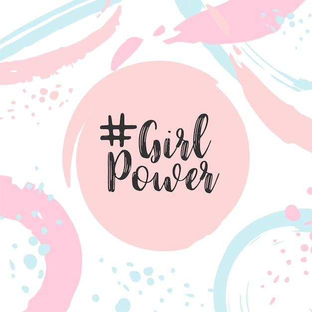 Girl power text cartão bonito com slogan motivacional Vetor Premium