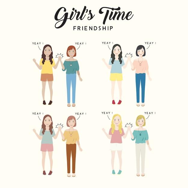 Girl's time friendship ilustração de personagem fofa Vetor Premium