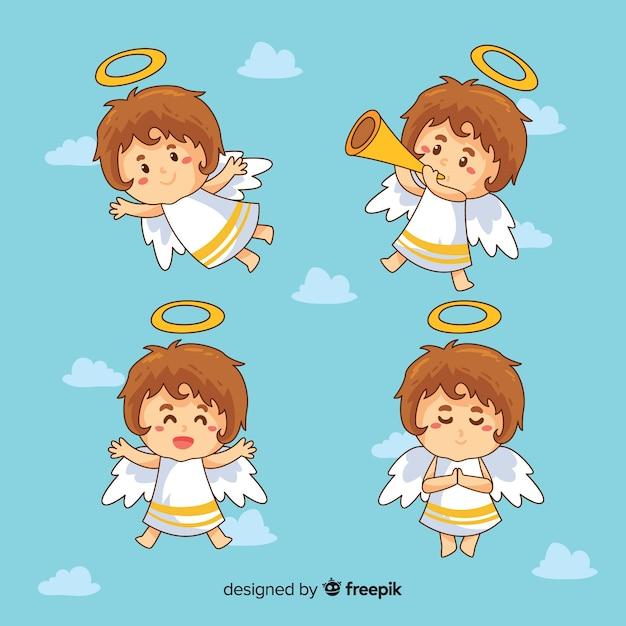 Giro mão desenhada coleção de personagens de anjos de natal Vetor grátis