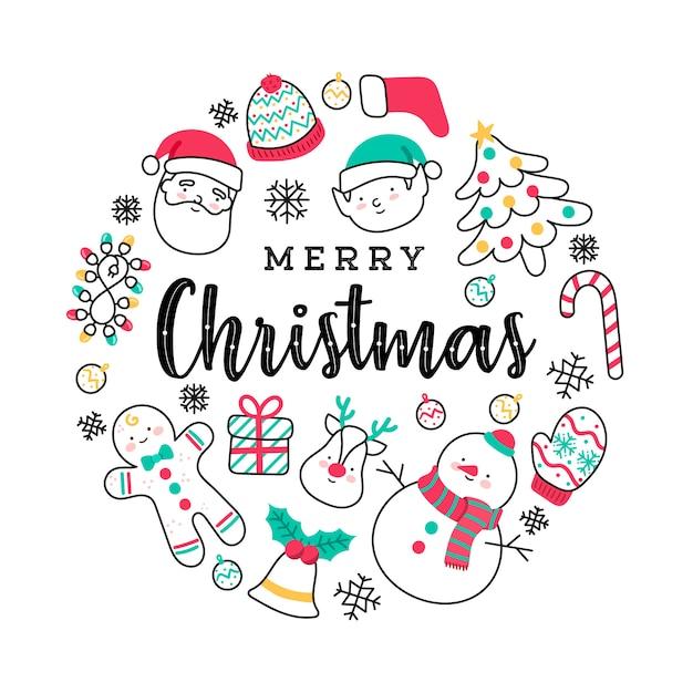 Giro mão-extraídas elementos de feliz natal Vetor grátis