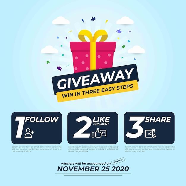 Giveaway for social media post com três etapas para vencer Vetor Premium