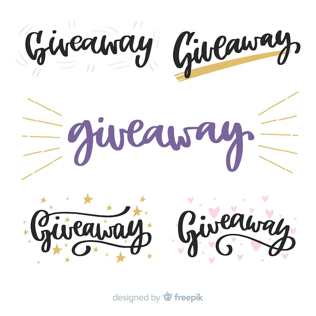 Giveaway lettering coleção para concursos Vetor Premium