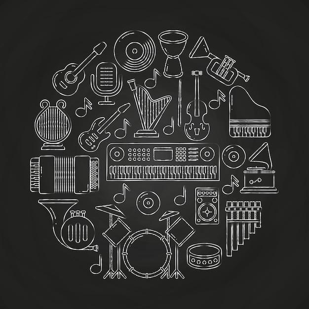 Giz de desenho vetorial composição de instrumentos musicais no quadro-negro Vetor Premium