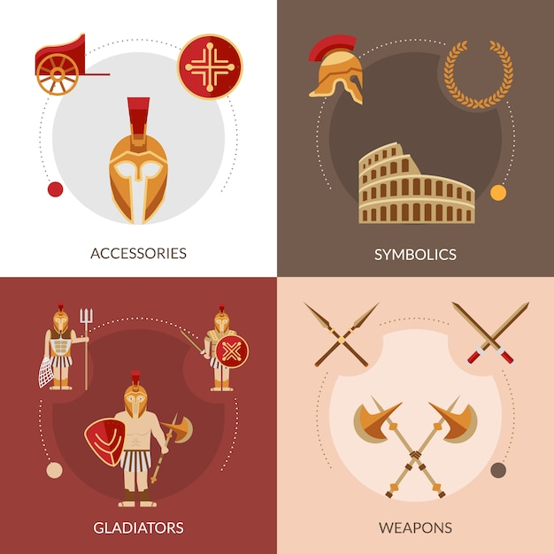 Gladiador flat set Vetor grátis