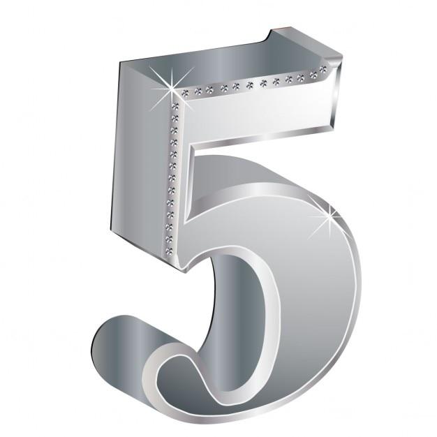 Glamorous número de diamante 5 Vetor grátis