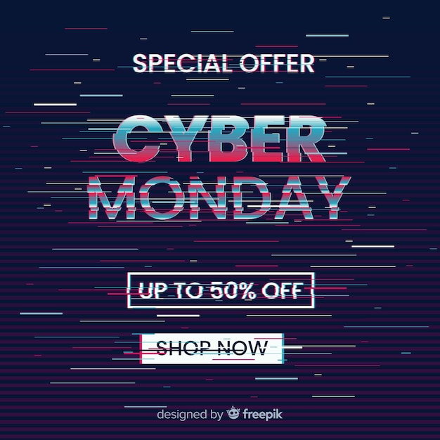 Glitch cyber segunda-feira oferta especial banner Vetor grátis