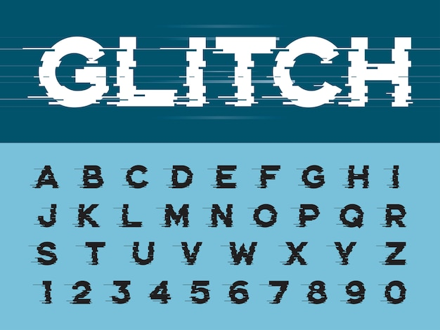Glitch modern alphabet letras e números, fontes arredondadas estilizadas lineares do grunge Vetor Premium