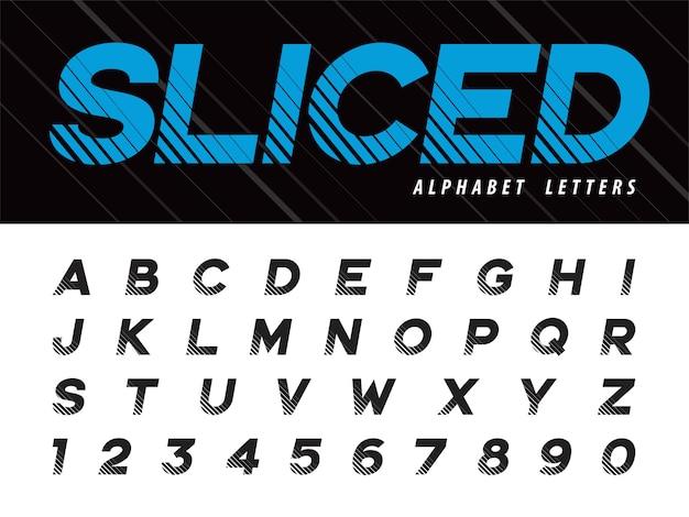 Glitch modern alphabet letras e números Vetor Premium