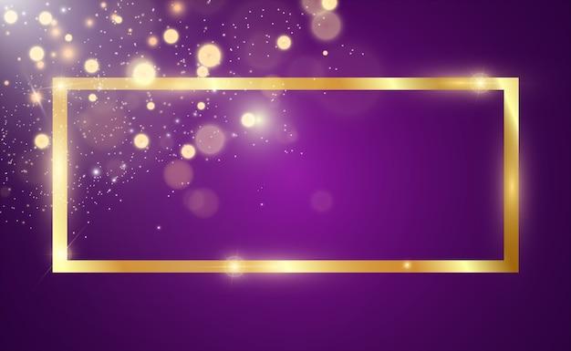 Glitter dourado com moldura de ouro brilhante em um fundo preto transparente Vetor Premium