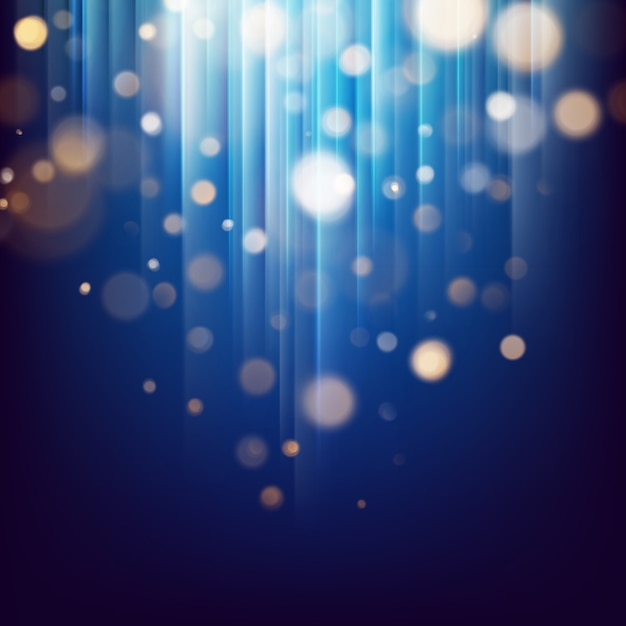 Glitter ouro luzes partículas abstratas. bokeh desfocado no fundo abstrato festivo escuro. Vetor Premium