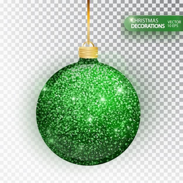 Glitter verde de bugiganga de natal isolado no branco. espumante glitter textura bal, decoração do feriado. meia decorações de natal. bugiganga de suspensão verde. Vetor Premium
