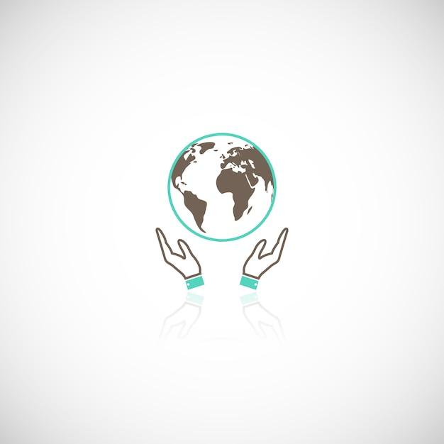 Global eco terra humana coletiva apoio emblema logotipo pictograma com ilustração em vetor gráfico mãos reflexão Vetor grátis