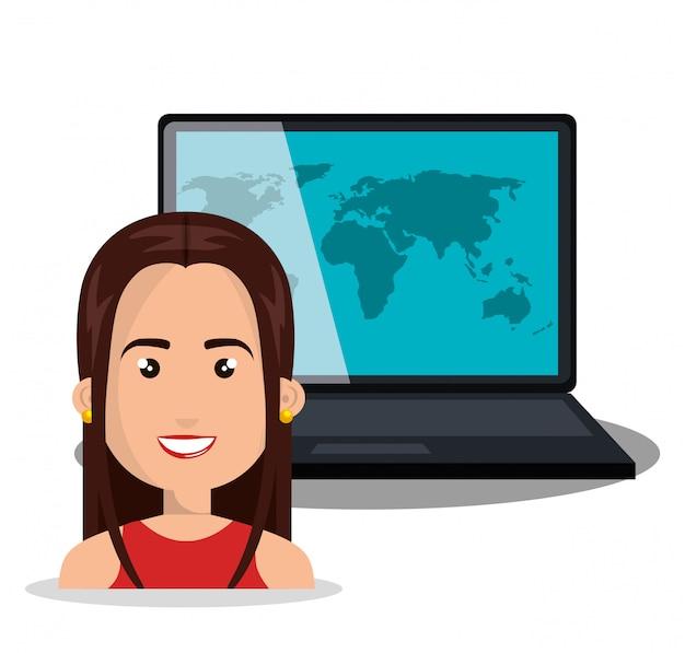 Globo de laptop mulher on-line isolado Vetor Premium