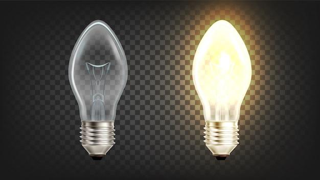 Globo de luz incandescente elétrico brilhante Vetor Premium