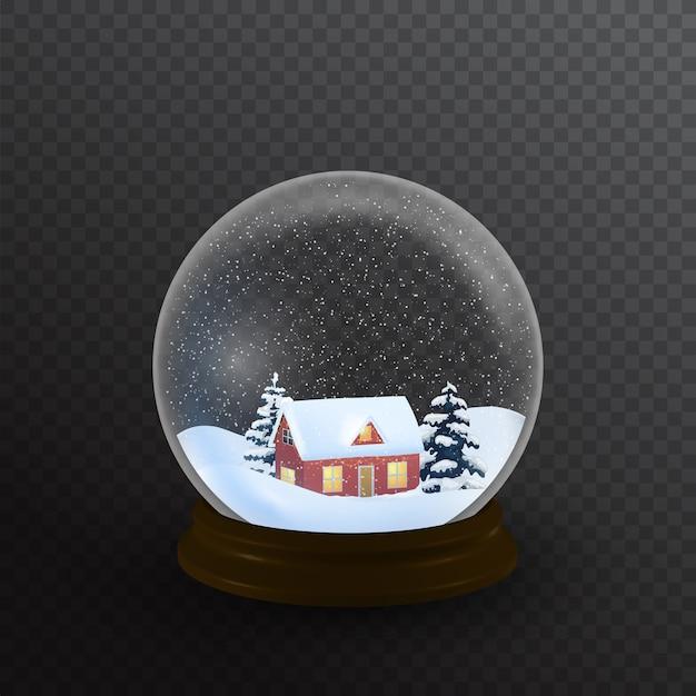 Globo de neve com casa e árvore de natal. Vetor Premium