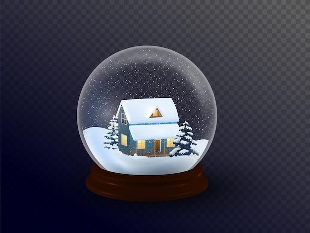 Globo de neve com uma cidade. todos os elementos e texturas são objetos individuais. Vetor Premium