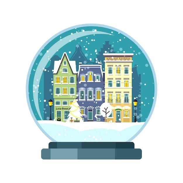 Globo de neve de natal com casas de amsterdam. ilustração isolada Vetor Premium