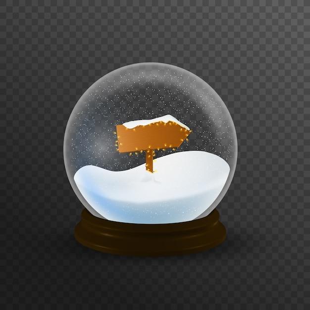 Globo de neve de natal com sinal do pólo norte e a queda de neve, ilustração. Vetor Premium