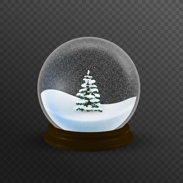 Globo de neve de natal realista com árvore de natal dentro Vetor Premium