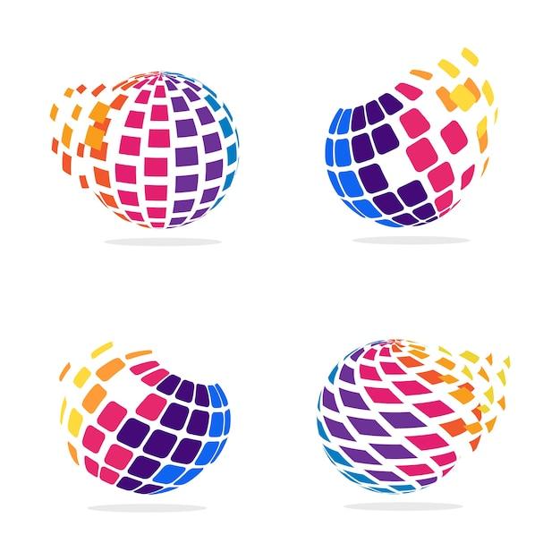 Globo estilizado com pixels em movimento Vetor Premium