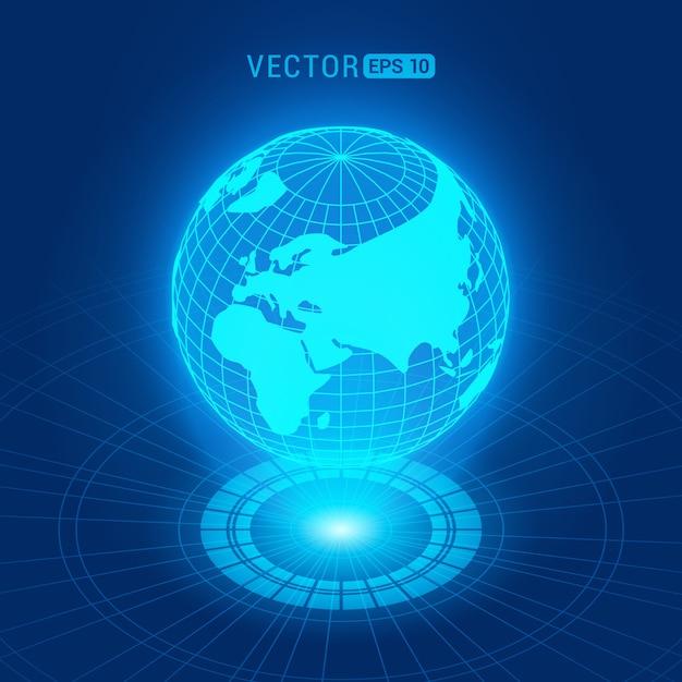 Globo holográfico com continentes contra o fundo abstrato azul escuro com círculos e fonte de luz Vetor Premium