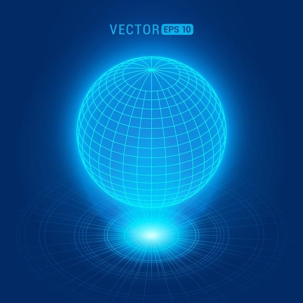 Globo holográfico contra o fundo abstrato azul com círculos e fonte de luz Vetor Premium