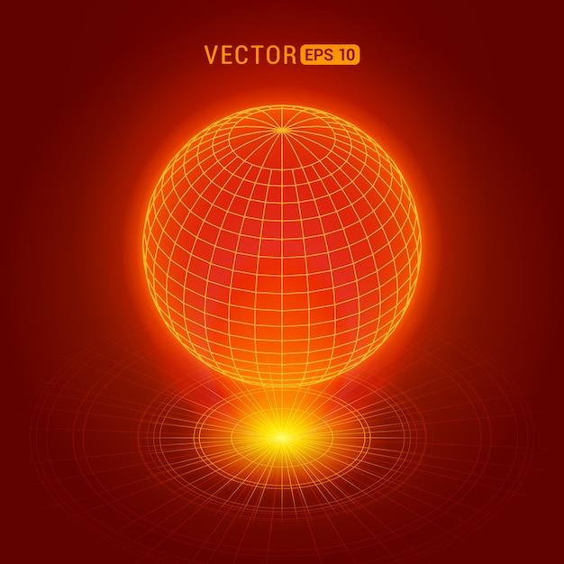 Globo holográfico contra o fundo abstrato vermelho com círculos e fonte de luz Vetor Premium