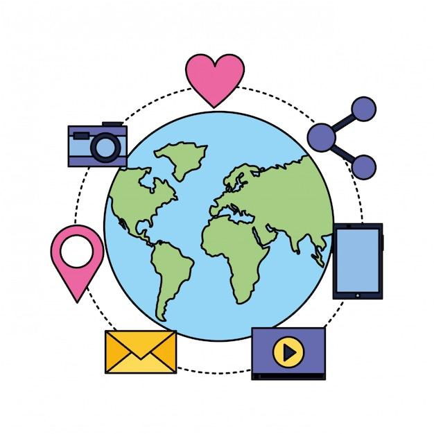 Globo móvel e-mail balão de mídia social Vetor Premium
