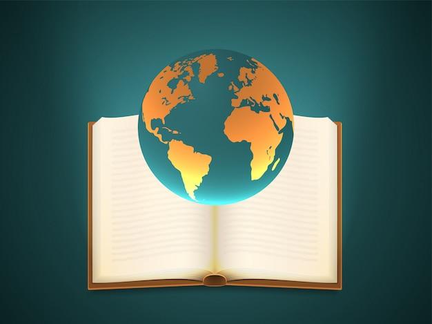 Globo terra com um livro aberto Vetor Premium