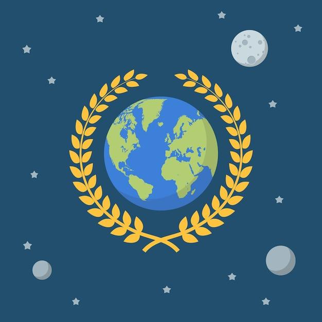 Globo terrestre com coroa de ouro no fundo do espaço. Vetor Premium