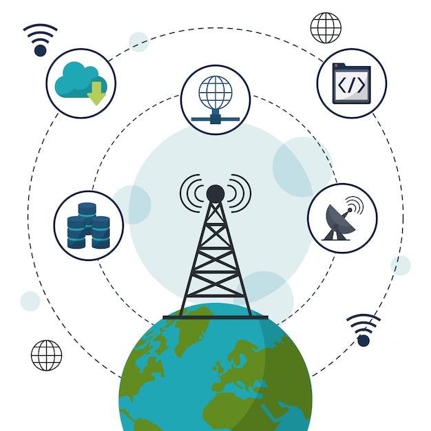 Globo terrestre em closeup e ícones de comunicação de rede Vetor Premium