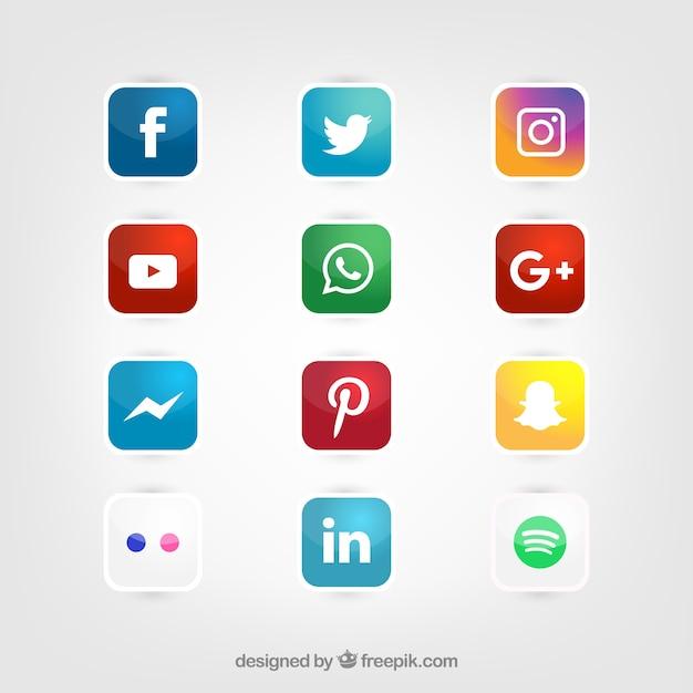 Glossy mídia social conjunto ícones vetor Vetor grátis