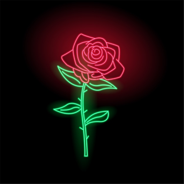Glow neon rose logotipo Vetor Premium
