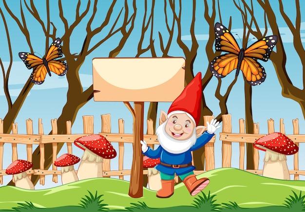 Gnomo com banner em branco e borboleta na cena de estilo cartoon jardim Vetor grátis