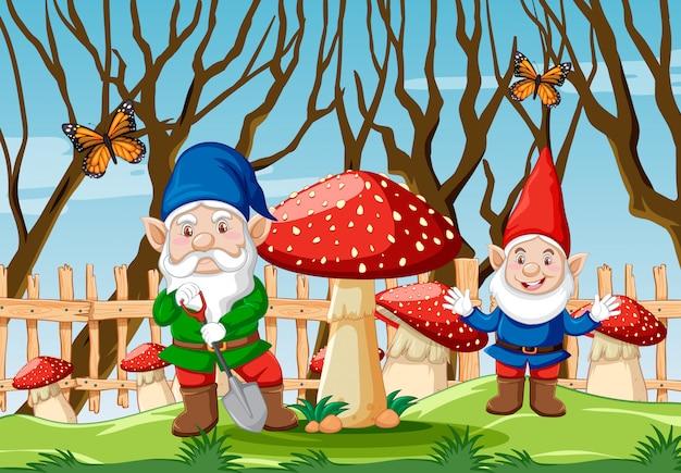 Gnomo com cogumelo e borboleta na cena de estilo cartoon jardim Vetor grátis