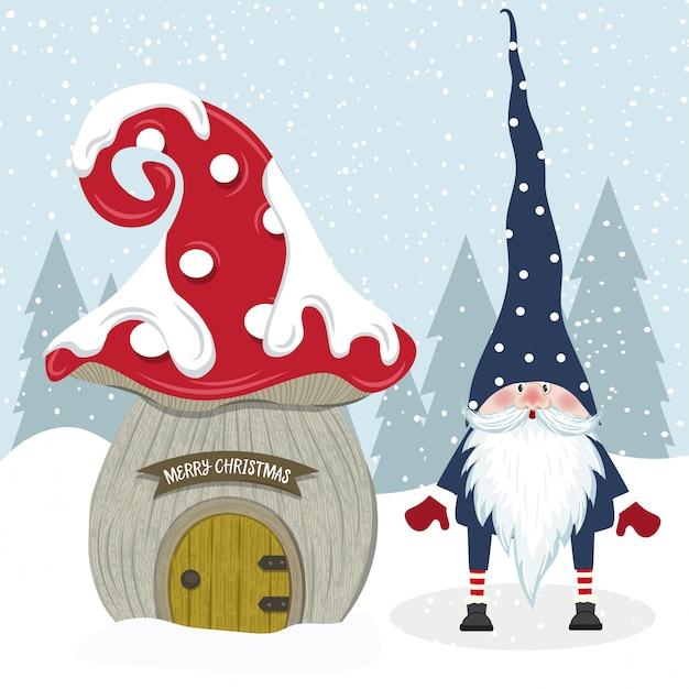 Gnomo de natal bonito e sua casa de cogumelo. design plano. Vetor Premium