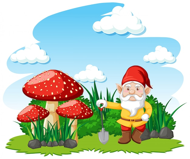 Gnomos de pé com personagem de desenho animado de cogumelo no fundo branco Vetor grátis
